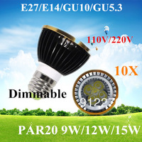 10pcs/lot Par20 Led Lamp E27 Dimmable 9W 12W  15W Spotlight Led Light Led Bulbs 85V-265V Energy Saving