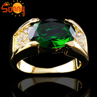Jewelry Brand New Emerald  man's 10KT yellow Gold Filled Ring size9/10/11/12  1pc  Freeshipping