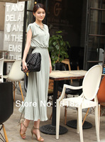 2013 New Women Girl Long Chiffon Maxi Bohemia Pleated Summer Dress 3 Colors Free Shipping Maxi size long chiffon dresses+belt