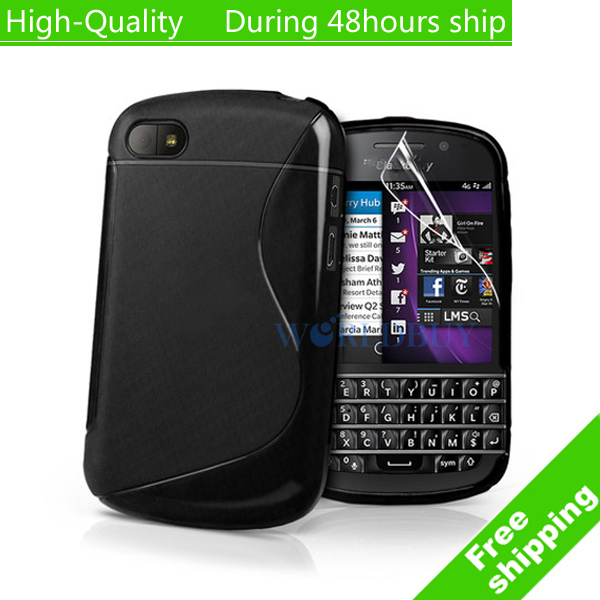 High Quality Soft TPU Gel S line Skin Cover Case for Blackberry Q10 Free Shipping UPS DHL HKPAM CPAM(China (Mainland))