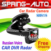 "FREESHIPPING SH818 Car DVR camera + Radar detector  SH818 (Russian Only)  2.0"" TFT +G-sensor+ 1920x1280DPI Auto recorder Russia"