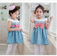 free shipping 2013 Girls Fashion Polka Dot dress 5pcs/1lot girls girls' dresses clothing beautiful Princess dress girls fashion