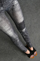 2014 Fashion Woman's Snowflake Seamless Imitation Jeans Leggings  Stretch Pants Plus Size Jeggings Wholesale Retail F31