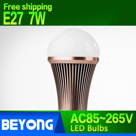 Free shipping E27 7W LED bubble ball bulb Ac85~265V warm white code white(China (Mainland))