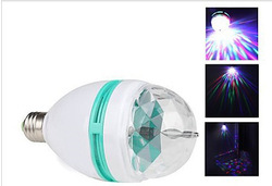 Free shipping (6pieces/lot) E27 3W Colorful Rotating RGB 3 LED Bulb Lamp for Chrismas Party(China (Mainland))