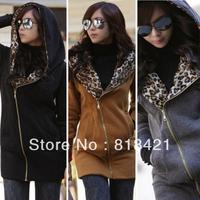 HOT Womens Leopard Hoodie TOP Fleece Jackets Women's Zip Coat Sweatshirt 3 Colors Free shipping