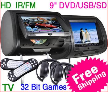 free shipping KS910 9 inch HD Digital Screen Car Headrest Monitor DVD Player with 32Bit Game USB SD TV IR/FM+2 IR-Headphones
