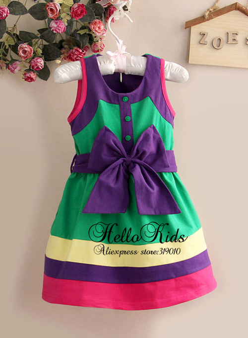 2015 New Spring Girls Dress Beautiful Green Bow Girl Flower Dresses For Kids Clothings For Children Wear 6PCS/LOT GD21009-100(China (Mainland))