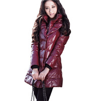 2013 new winter snow wear fashion star style women's medium-long disposable slim down coat stand collar hooded P75