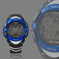 Free Shipping! New OHSEN Digital Day/Date Quartz Alarm Blue Sport Boys Girls Waterproof Gift Watch 0815-2