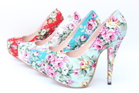 New Spring Super High Heel Restro Flower Cloth Round Toe Stiletto High Heel Pumps small EUR Big Size 32-43