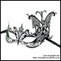 MA002 Wholesale Beautiful Craftsmanship Venetian Style Black Laser Cut Metal Masquerade Masks Free Shipping
