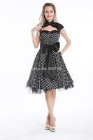 free shipping Hot sales cheapest 50s Polka dots vintage  pinup dress  Rockabilly-Kleid schwarz evening kleid Rockabilly Dress