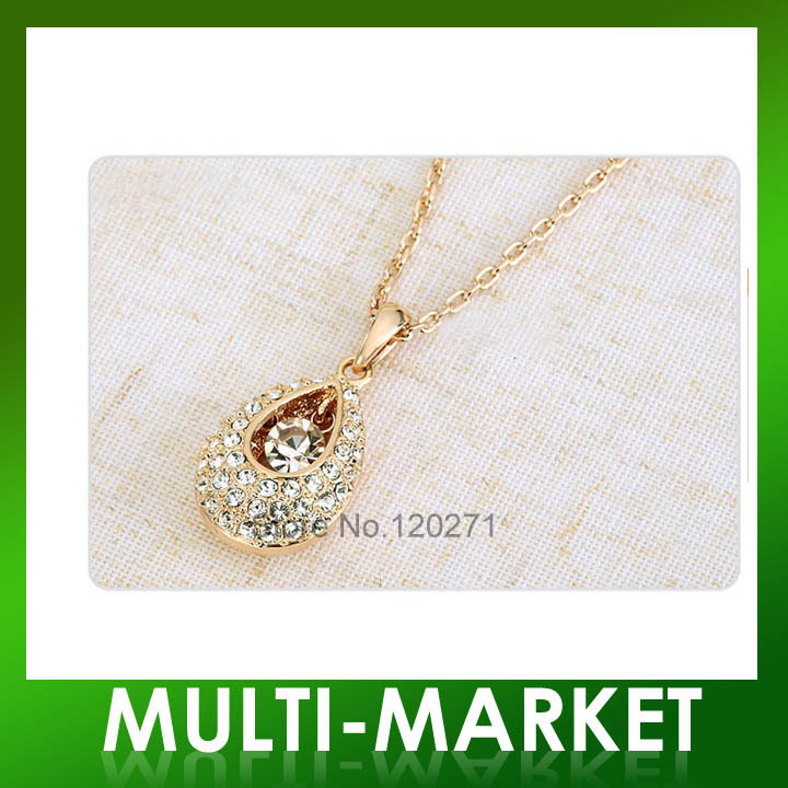 Free shipping/Romantic Angle Tear Symbol Full Drill Crystal Necklace/ Pendants(China (Mainland))
