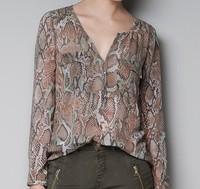 roupas femininas women blouse plus size chiffon shirt women Snake Pattern blusas femininas 2014 free shipping to brazil