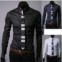 New Men Slim Fit Silk Sleeve&Collar Stylish Shirts South Korea long sleeve Dress Shirts, free shiping