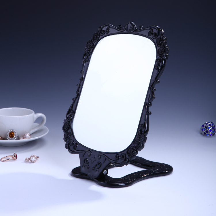 Makeup Compact Cosmetic mirror folding mirrors black plastic gift mirror New makeup mirror wholesale 250g/pcs(China (Mainland))