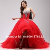 The latest strapless red princess wedding chest beaded evening dress wedding toast clothing evening wear