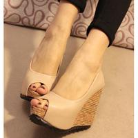 2013 spring Latest European  peep toes platform wedges shoes ankle boots sandals nude&black 11cm