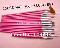 Free shipping 5sets/Lot- 15pcs Pink Nail Art Brush set Painting Pen Nail Art brush