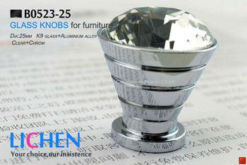 Free Shipping 25mm LICHEN K9 Glass Knobs aluminium knobs diamond Crystal Furniture Handle diamond knobs& Cabinet &Drawer Knob