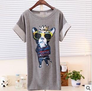 Fashion Crown Dog Printed T-shirt Women Casual Short-sleeve Animal Tops Cartoon T-shirts Drop Shipping TS-152