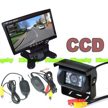 "Wireless 18LED IR Night Vision CCD Reverse Parking Backup Camera + 7"" TFT LCD Monitor Car Rear View Kit"