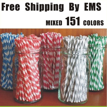 free shipping 40 packs/lot  25pcs/pack   151 colors drinking paper straw strip drink paper straws