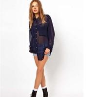 2013 Simple Fashion double Pocket  Loose Sheer  dark blue  long-sleeved Chiffon Blouse Shirt For Women XS-XXL ONSALE