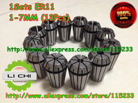 Free shipping Top standard quality er11 collet set 13 pcs from 1 mm to 13 mm for CNC milling lathe tool and spindle motor