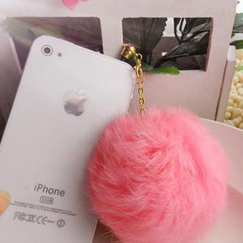 Dust plug cell phone accessories for iphone 4 dust plug earphones dust plug rhinestone rabbit fur ball