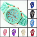 100pcs Wholesale price, 2013 new Rose gold geneva  Luxury silicone jelly candy unisex quartz wrist watches 13 colors men women