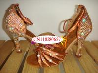 Hi-Q   Brand/3.5  4.5 5.5 7 7.5 8.5CM Satin Soft outsole salsa  Adult Women Latin Dance shoes diamond 2014 rhinestone salmon