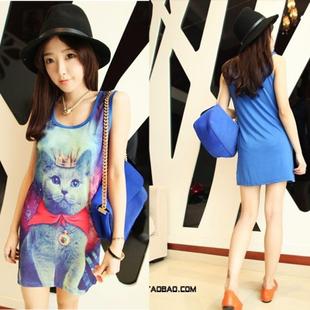 Top For Women 2014 Spring Summer Fashion Cute Cartoon Galaxy Cat Sleeveless O-neck Long T shirt Women Top Dress T-shirts  80074