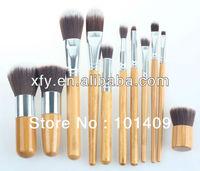 11PCS Pro Bamboo Handle Makeup Brush Brushes Cosmetic Powder Tool Kit Set With Bag