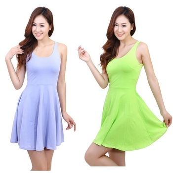 Ladies one-piece dress Candy Color W4021