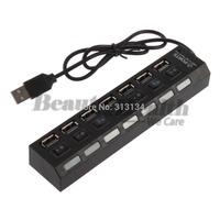 1 pcs USB 2.0 Hub Adapter  7 Port Slot Tap  Splitter Power On/Off Switch LED Light Free Shipping