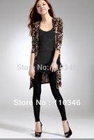 2014 New Fashion Korean Style Coat Large Size Women's Leopard Cardigan Sweater Long Sleeve Casual Slim Outwear Freeshipping