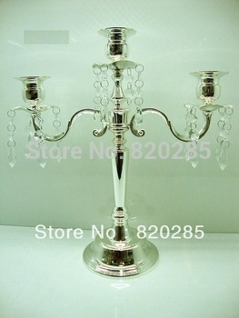 Silver plated metal candle holder/ metal candlelabra/ 3-arms candle holder with crystals