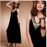 2013 New design Beach v-neck dress,Bohemian dress ,big size plus size cotton black long dress for girl, Free shipping