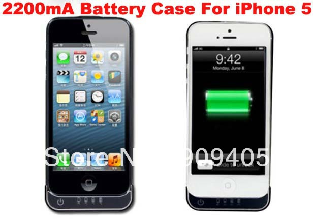 Wholesale freeshiping 2200mA External Battery Case for iPhone 5 5G charging case with retail package 20pcs/lot(China (Mainland))