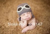 Free shipping Cute 2 style pilot hat baby hat handmade crochet photography props newborn baby cap