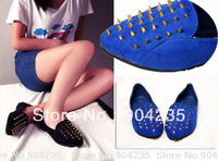 New Women's Punk Sexy Unique Spike Studded Loafers Flats Point Rivets Shoes, Registered Free Shipping with tracking number
