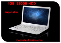 DHL freeshipping cheapest laptop computer with high battery power 13.3 & 14inch super slim notebook W/4GB RAM 320GB Webcam WIFI