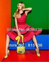 FREE SHIPPING 2014 EUROPE FASHION RED A-LINE DRESS SUMMER DRESS (UK8-UK16)