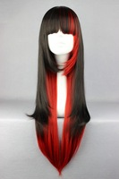 70cm Long Black And Red Mixed Beautiful lolita wig Anime Wig