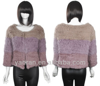 Free shipping 2013 New style Multi color rabbit knitted fur jaket YR-629