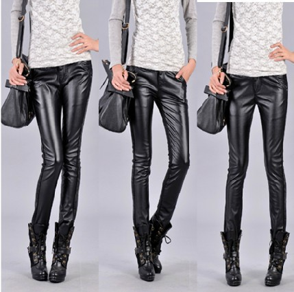 Hot sale plus size women's black trousers PU leather tight boot cut stretch denim jeans pencil pants Stitching harem pants 987(China (Mainland))