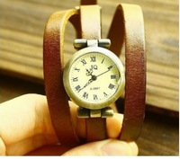 2014 Christmas Gift!! Wholesale Genuine Cow Leather Three Circles Fashion Wrap Women Watch.top Quality.free Shipping.3 Colors..
