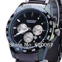 2013 HOT SALE CURREN 8047 Men watch Quartz Adjustable Tungsten Steel Calendar Tachymeter Watch-Black dial Free shipping